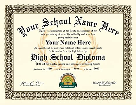 Amazoncom High School Diploma Personalized With Your Info