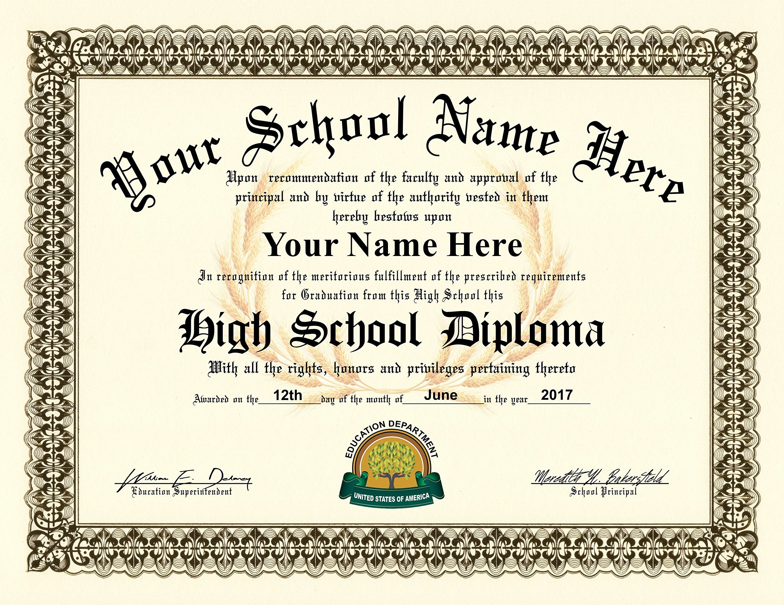 High School Diploma - Personalized with your Info - Premium Qaulity - Comes with Certificate Folder
