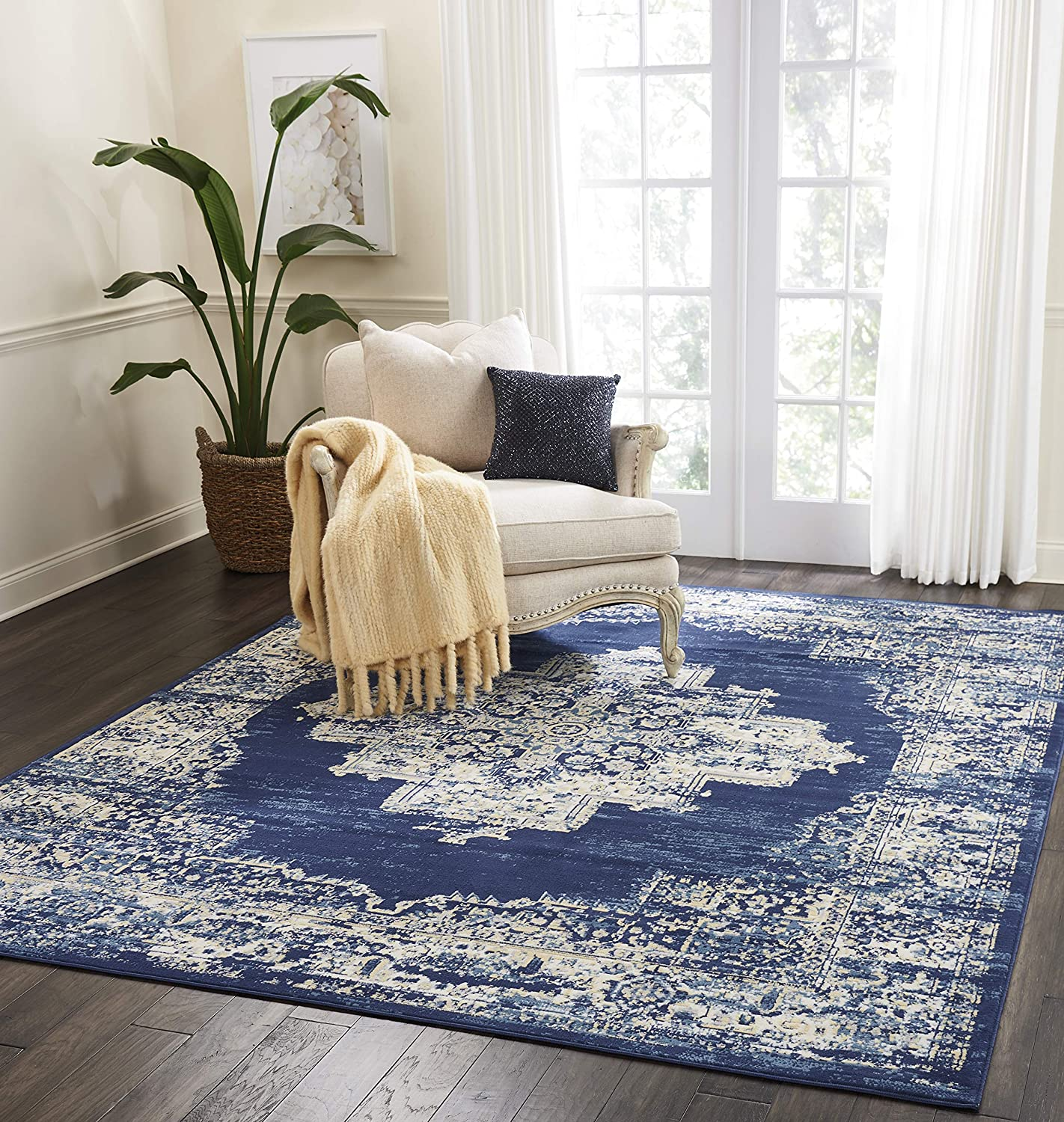 "Nourison Grafix Area Rug, 7'10""X9'10"", Navy Blue"