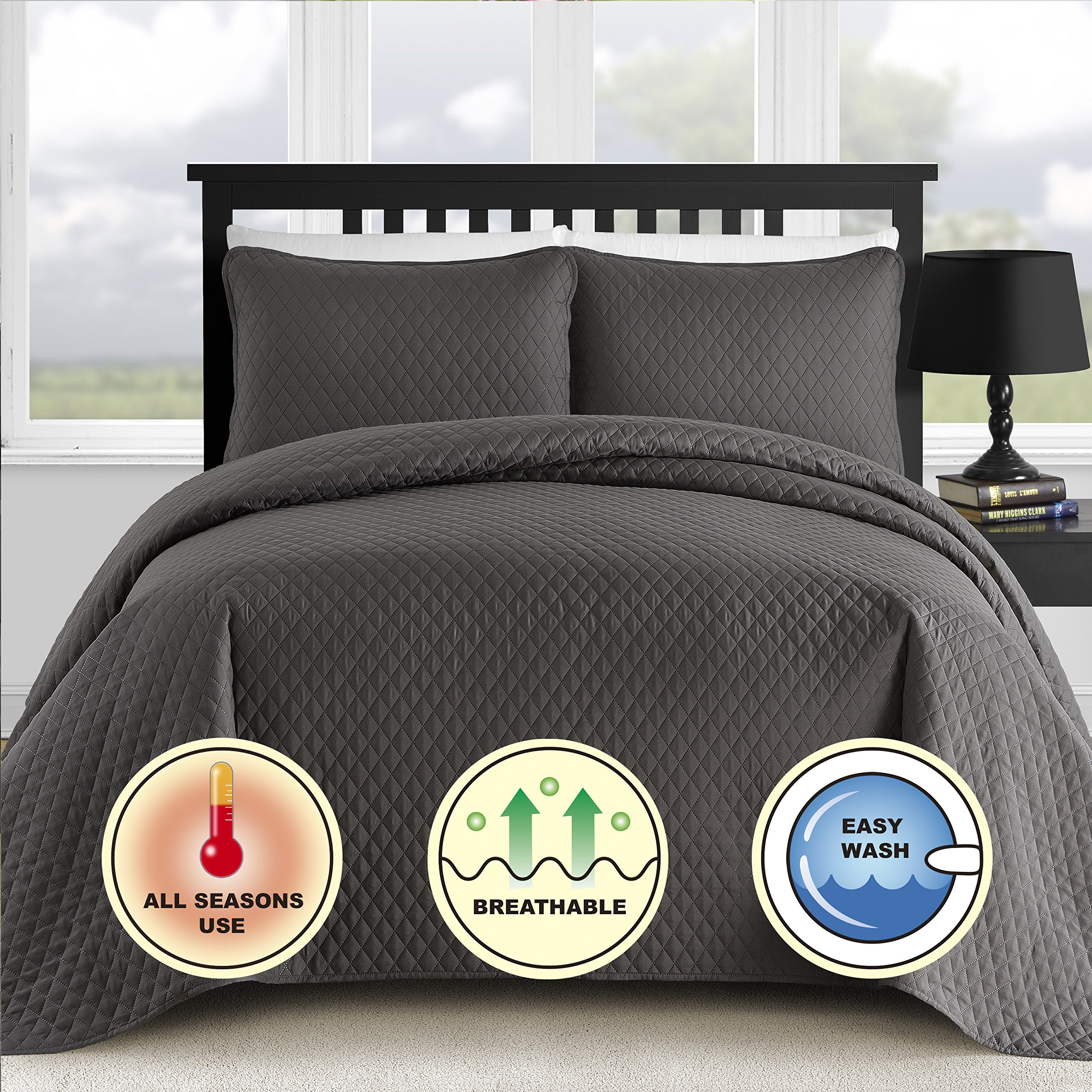 Comfy Bedding 3-Piece Bedspread Coverlet Set Extra Lightweight and Oversized Diamond Embossed, King/Cal King Charcoal by Comfy Bedding (Image #3)