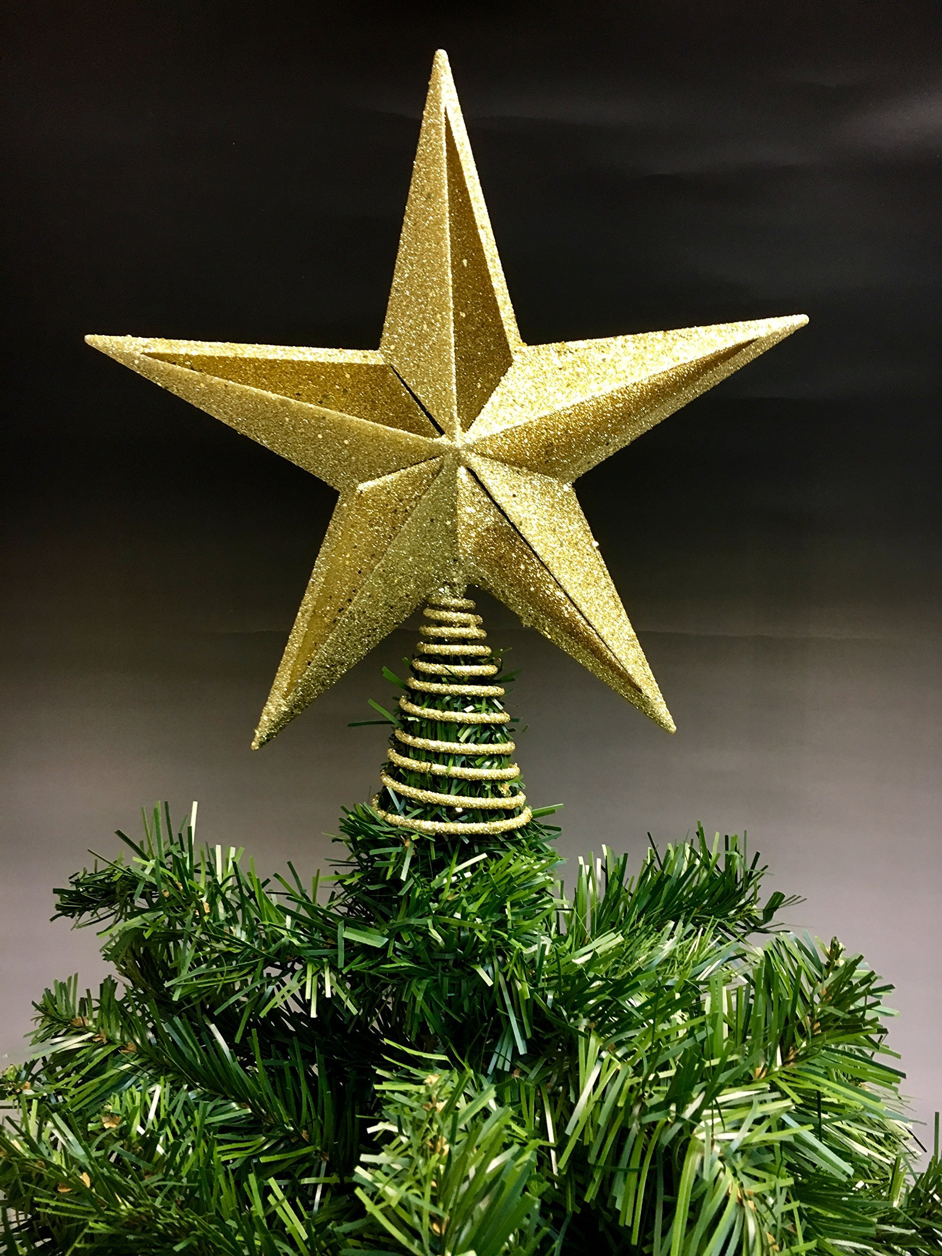 Christmas Traditions 11 inch Gold Glittered Star Tree Toppers/Home Decor