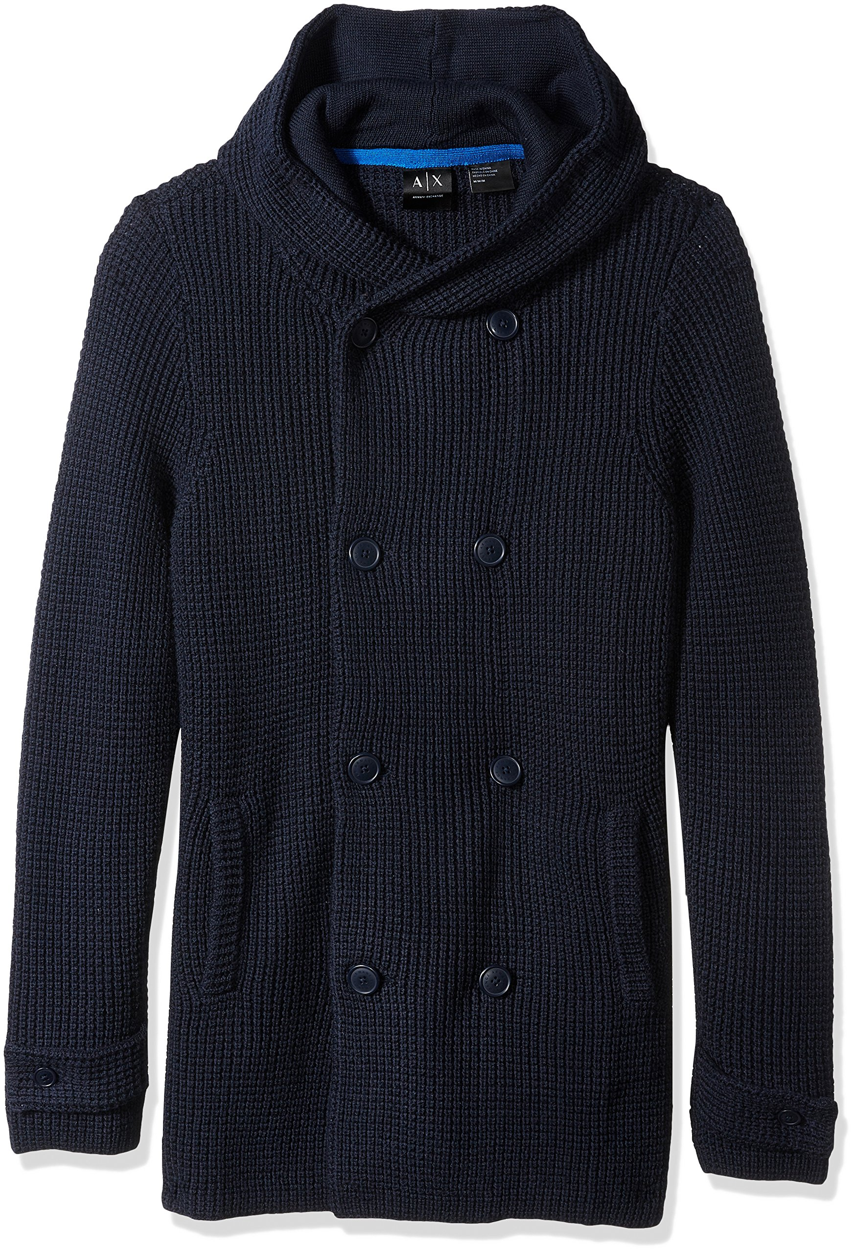 A|X Armani Exchange Men's Large Knit Peacoat Sweater, Sky Captain, Small