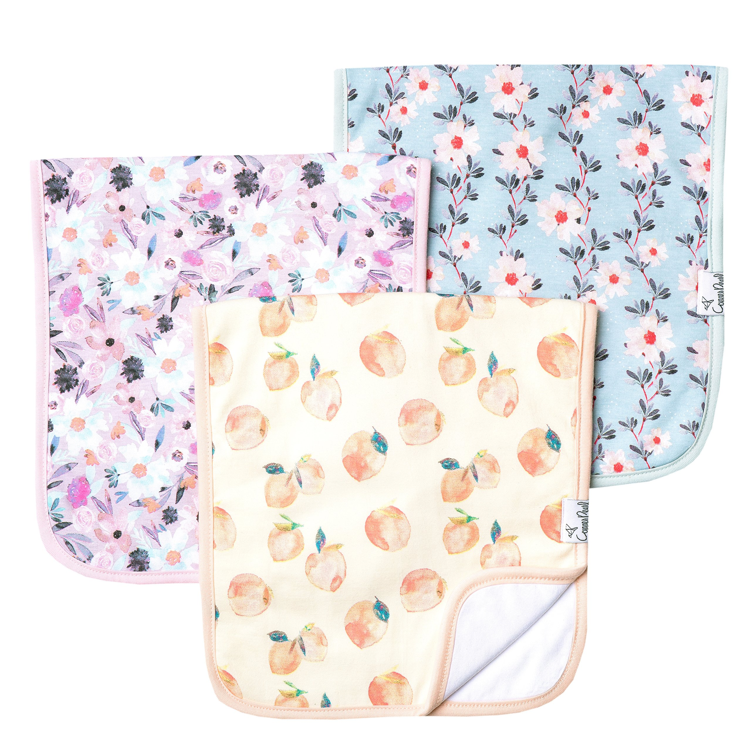 """Baby Burp Cloth Large Absorbent 3 Pack Gift Set Girl """"Morgan"""" by Copper Pearl …"""
