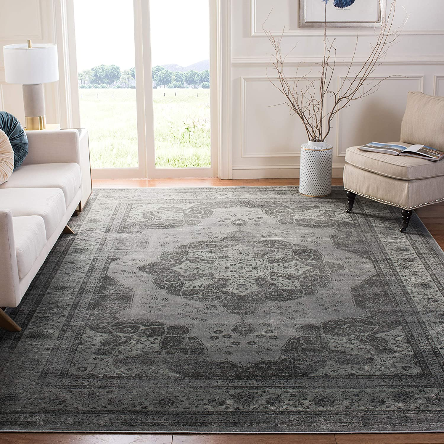 Shop Oriental Medallion Grey and Multi Distressed Silky Viscose Area Rug from Amazon on Openhaus