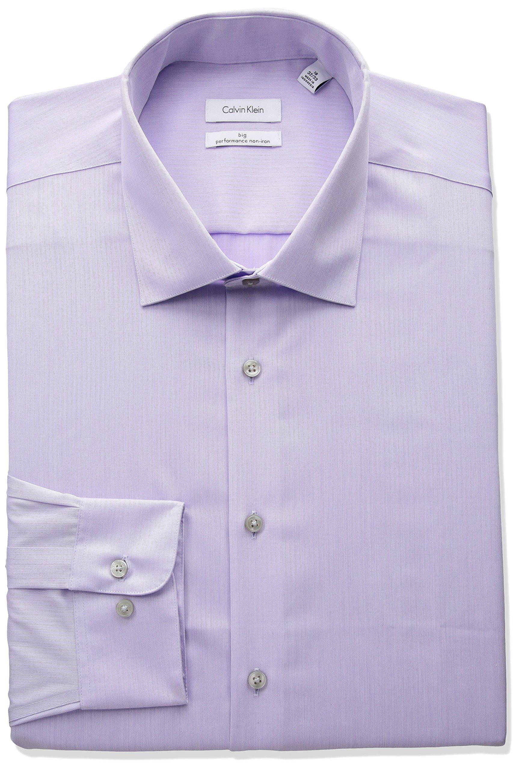 Calvin Klein Men's Big and Tall Non Iron Fit Herringbone Spread Collar Dress Shirt, Lilac, 20'' Neck 34''-35'' Sleeve