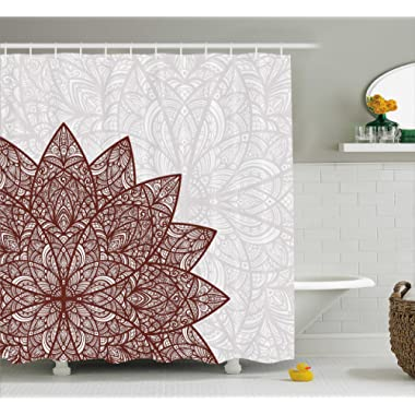 Ambesonne Ethnic Shower Curtain by, Arabesque Floral Figure Mandala Middle Eastern Stylized Swirled Lines Art Print, Fabric Bathroom Decor Set with Hooks, 84 Inches Extra Long, Pearl Burgundy