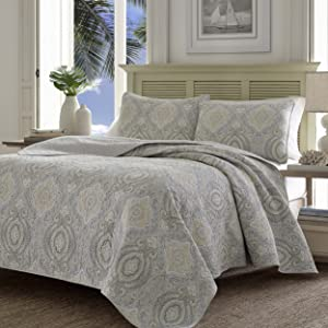 Tommy Bahama Turtle Cove Reversible Quilt Set, King, Gray, 3 Piece