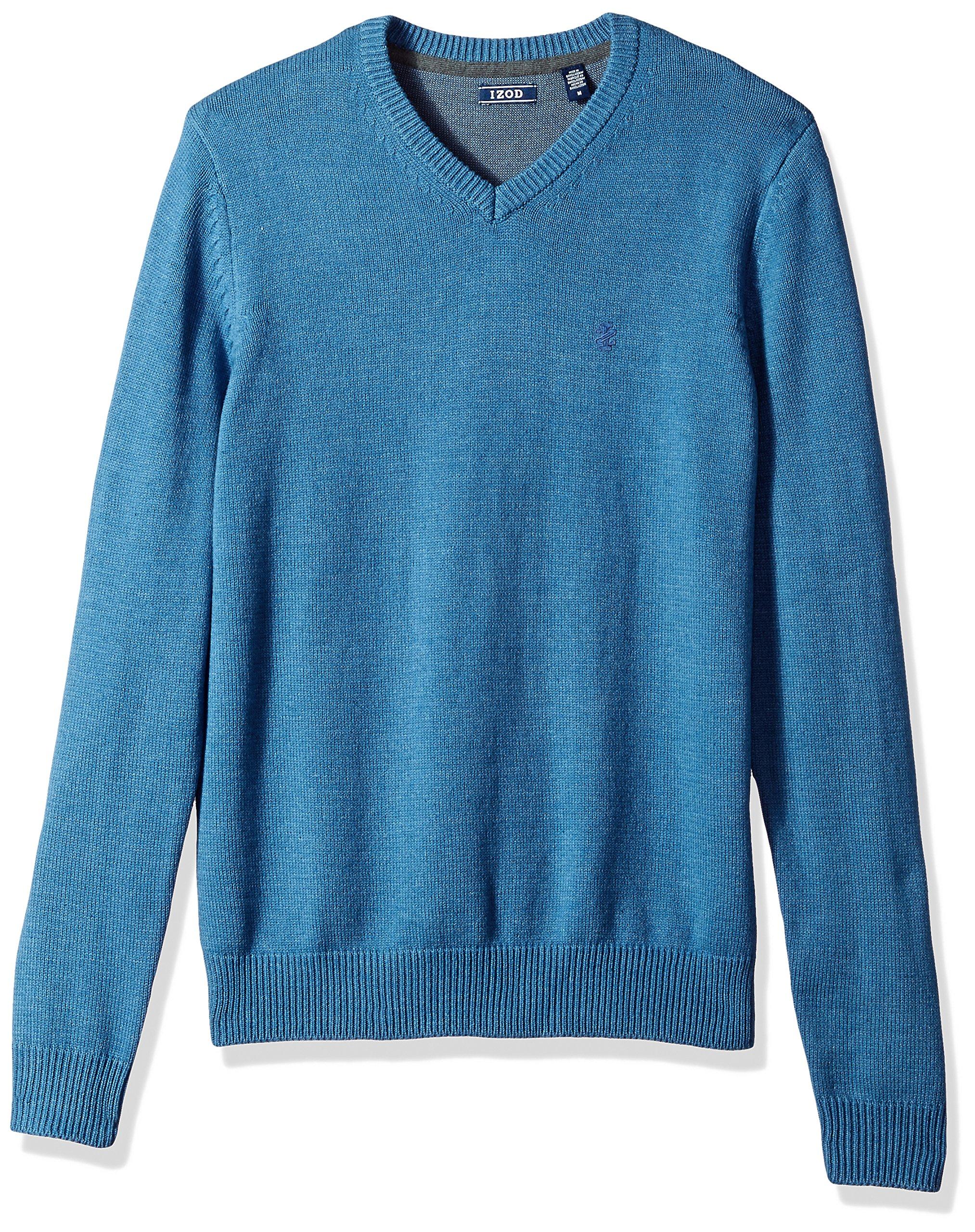 IZOD Men's Fine Gauge Solid V-Neck Sweater, Federal Blue, X-Large
