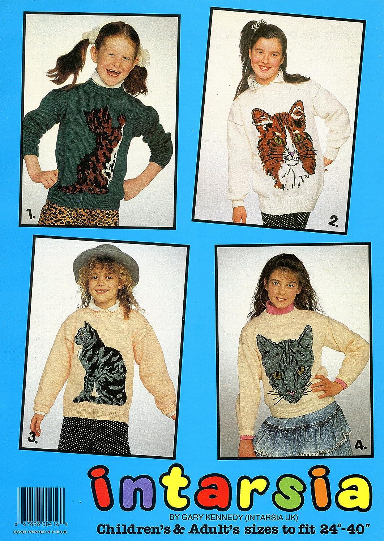 4 Knitting Patterns by Gary Kennedy Intarsia UK Cats Patons #533