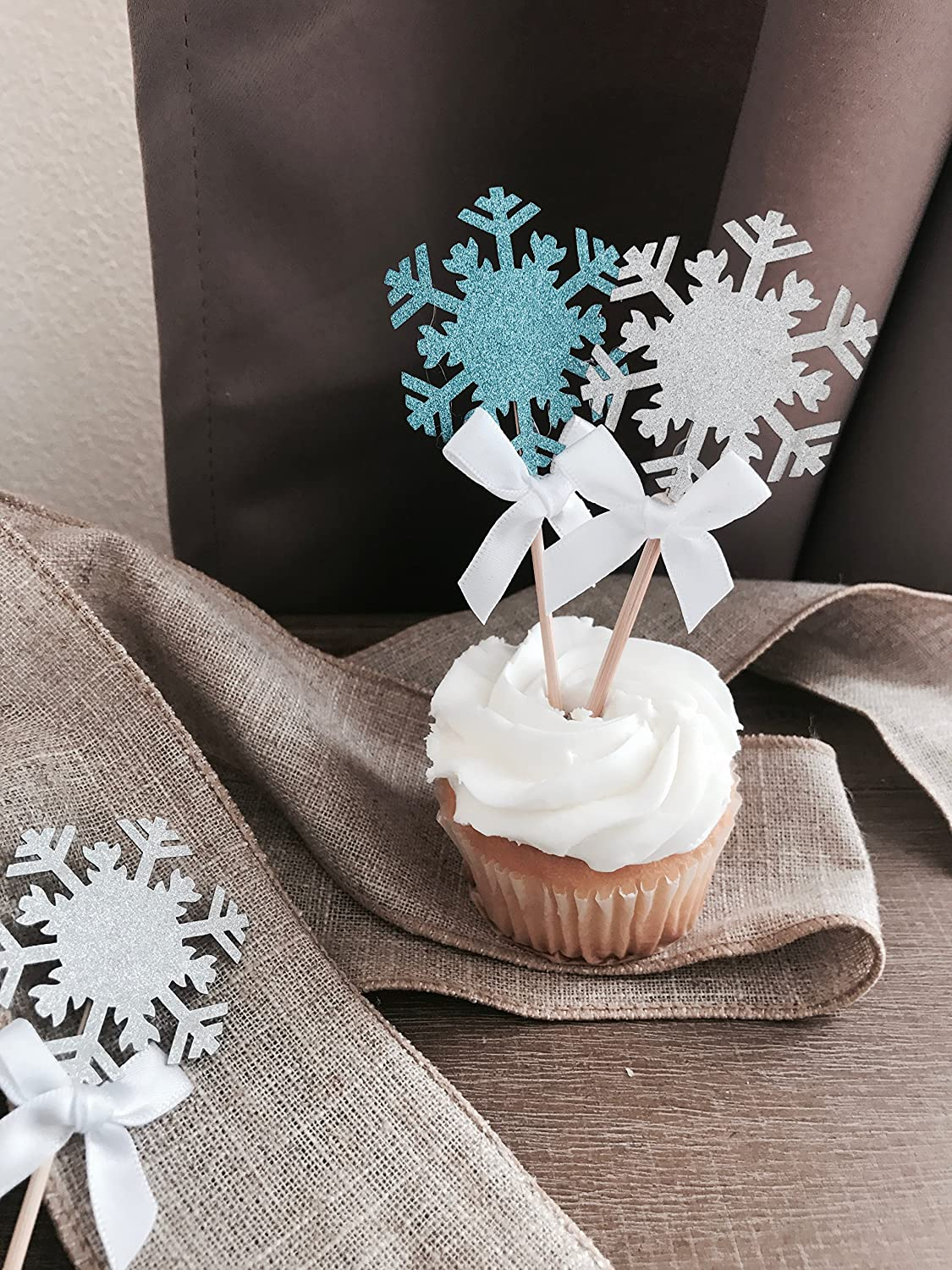 Sunrise Producton Winter Wonderland Party Decoration And Holiday Celebration -12 CT Light Blue /& Silver With White Bows Perfect For Christmas Party Snowflake Cupcake Toppers