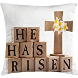 Quote Throw Pillow Cushion Cover by Ambesonne, Wooden Cross with Rustic Alphabet Blocks He Has Risen Resurrection Theme, Decorative Square Accent Pillow Case, 18 X 18 Inches, Pale Brown Black Yellow