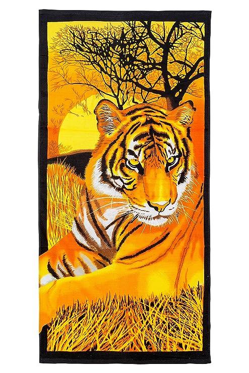 gibra® playa toalla, 70 x 140 cm, diseño de tigre
