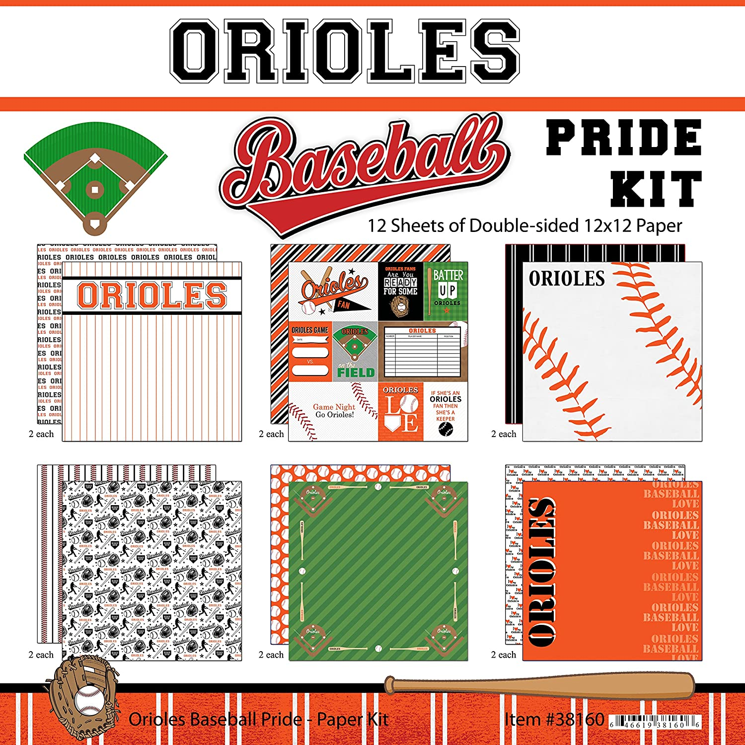 Scrapbook Customs Orioles Pride Baseball Kit Inc. 38160