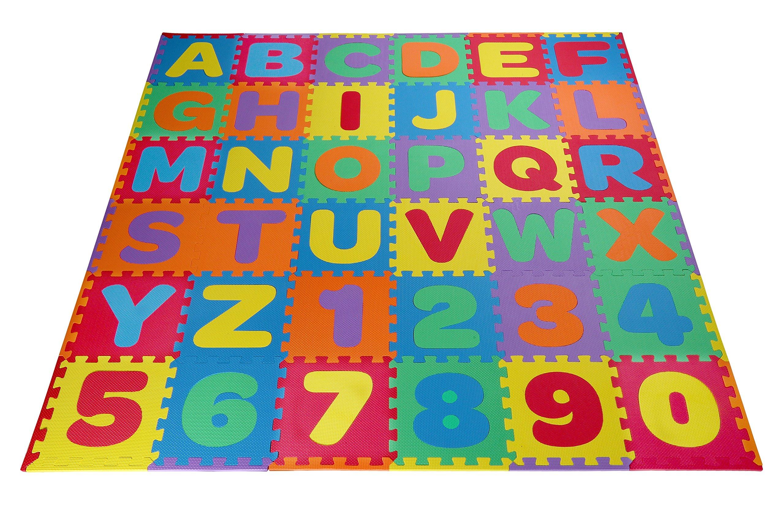 Toydaloo Eva Kids Foam Play, Alphabet ABC Plus Numbers Puzzle Mat, Plus 24 Border Edges, Includes Reusable Carrying Bag with Handle, 36 Piece