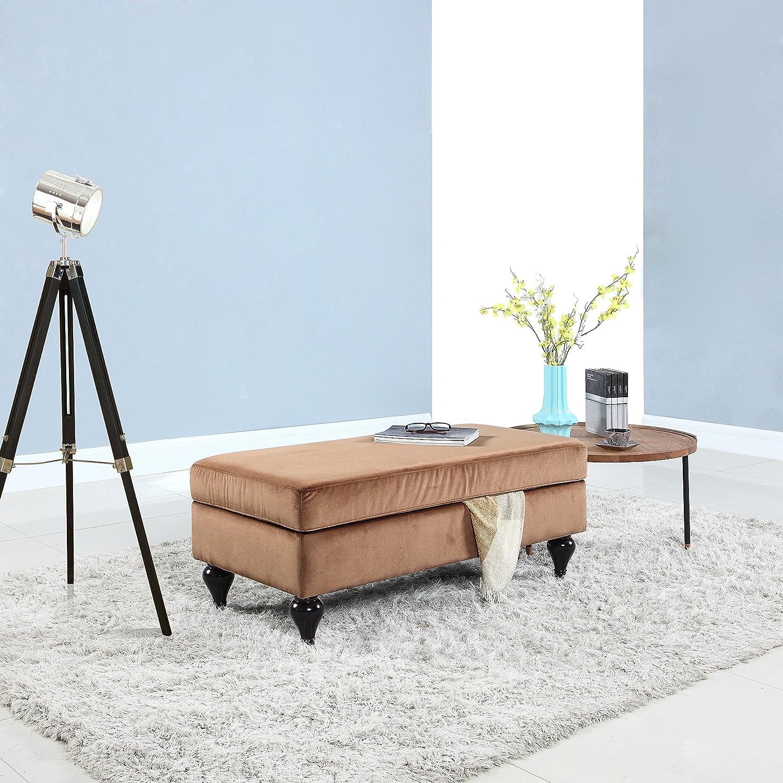 Divano Roma Furniture Classic Large Velvet Rectangular Storage