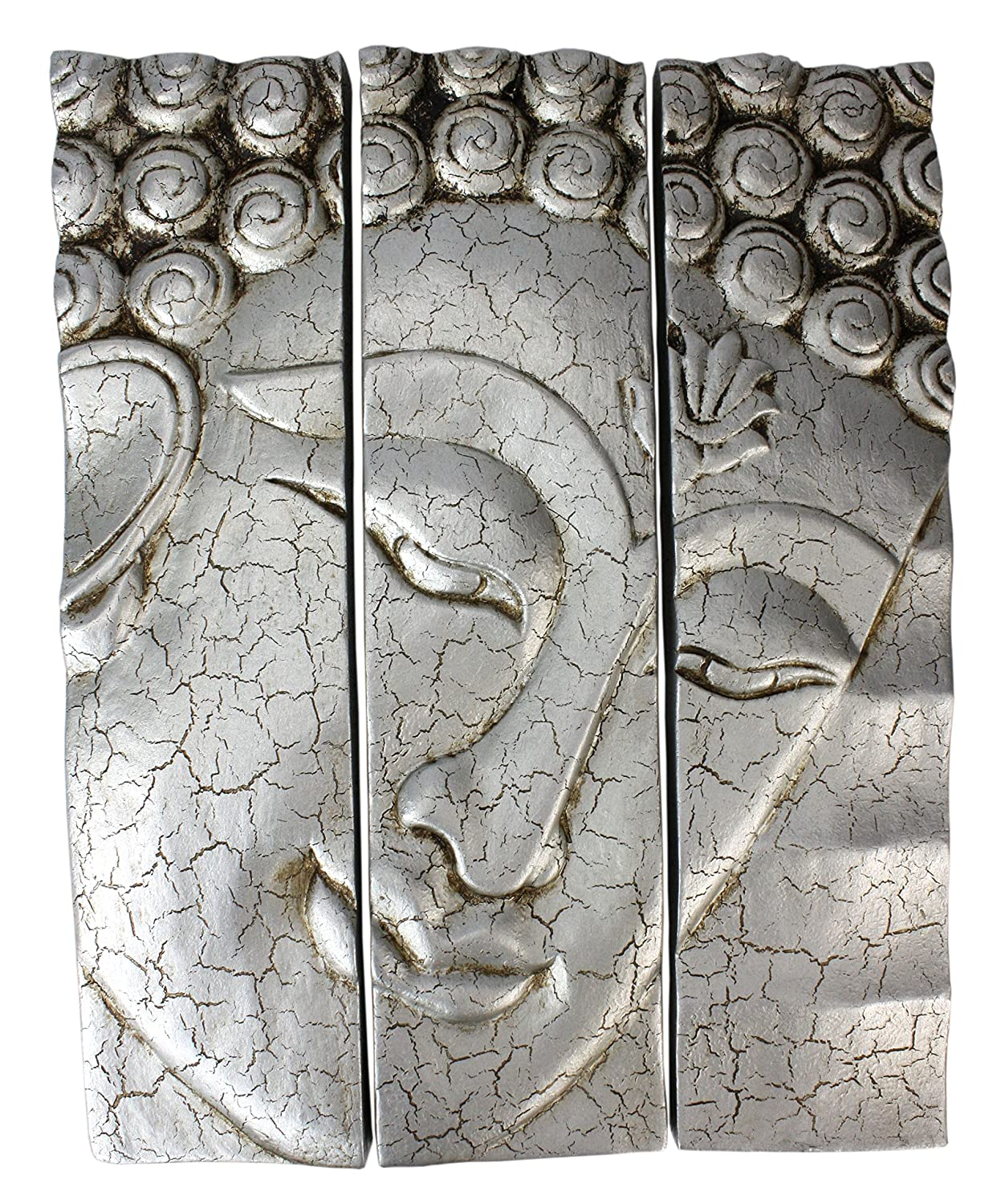 3-part Thai Buddha face panel - cracked Silver finish, carved wood, 38.5cm high Farang
