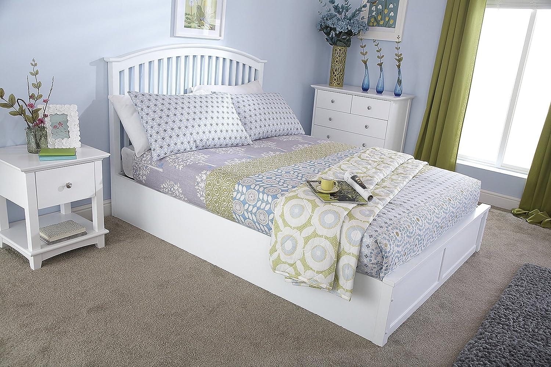 4'6Double Holz Bett mit Stauraum in weiß