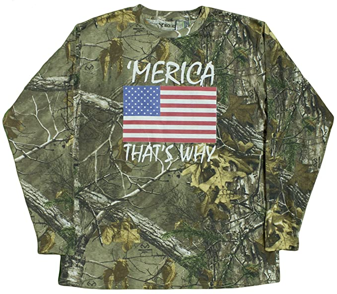 7cabad7f7 Men s Realtree Camo  Merica That s Why Long Sleeve Shirt at Amazon ...