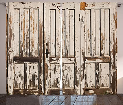Amazon.com: Ambesonne Rustic Curtains, Vintage House Entrance with ...