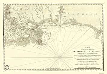 Amazon Com Old Travel Map Florida And Louisiana Gulf Coast