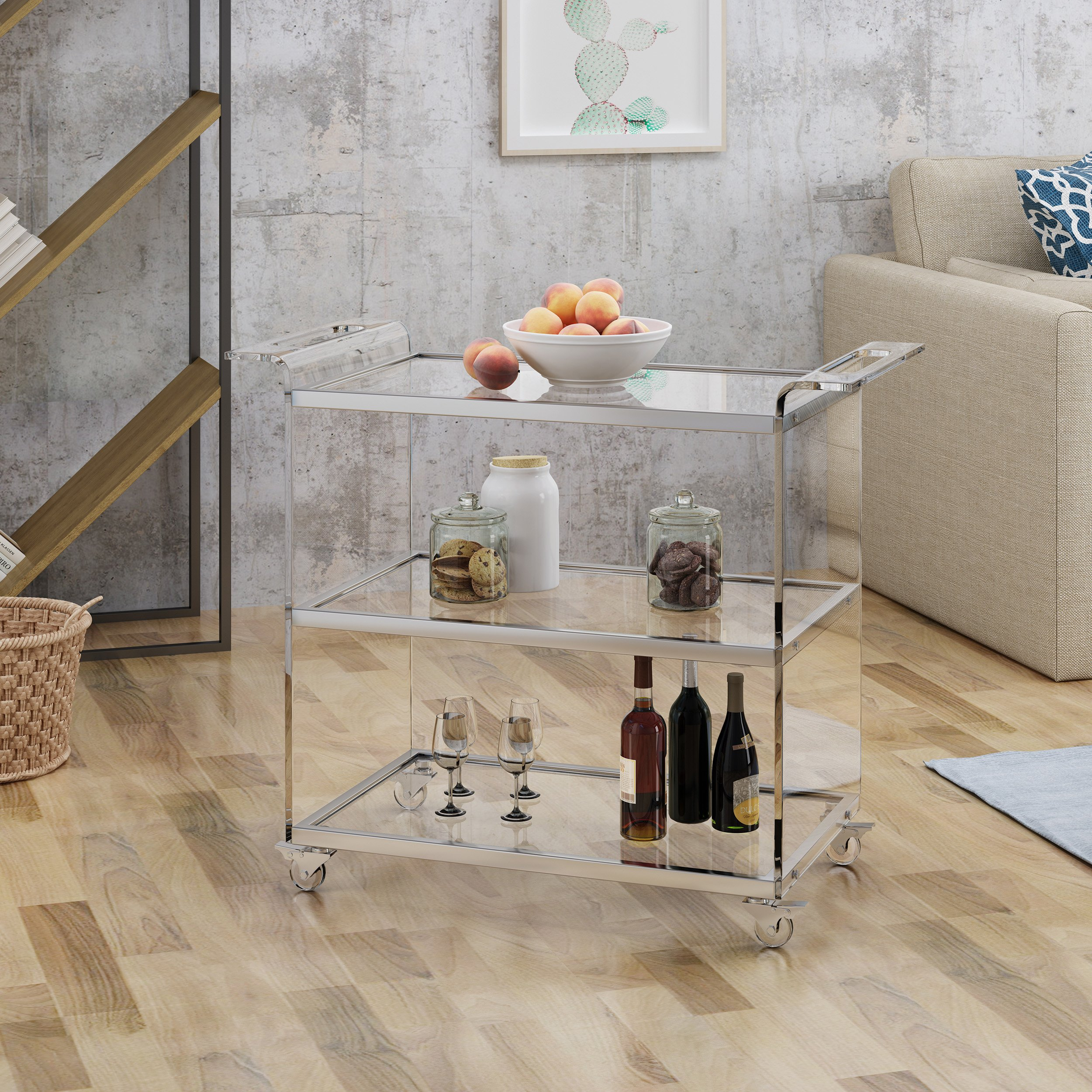 Christopher Knight Home Evee Acrylic Bar Trolley with Glass Shelves, Clear by Christopher Knight Home