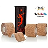 FlexU Sports Kinesiology Tape; Super Saver 3 Roll Pack; 60 Pre-Cut 10 Inch strips; Hypoallergenic Longer Lasting Pro Grade Synthetic Therapeutic Recovery Athletic Wrap