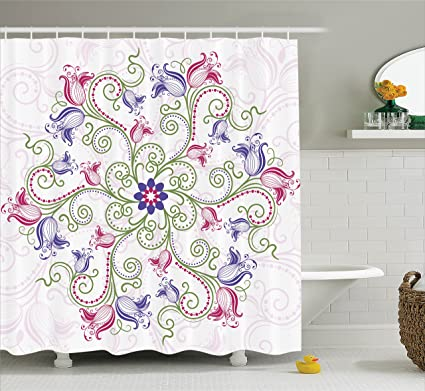 Ambesonne Mandala Shower Curtain Round Flower Frame Design Classical Vintage Floral Art With Ottoman Tulips