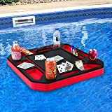 Polar Whale Floating Poker Table Red and Black Game Tray for Pool or Beach Party Float Lounge Durable Foam Chip Slots Drink H