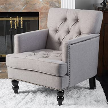 Great Deal Furniture Tufted Club Chair, Decorative Accent Chair with Studded Details - Pewter