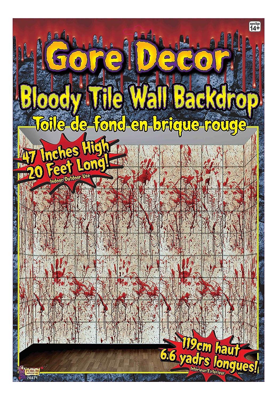 amazoncom forum novelties gore decor bloody tile wall backdrop multicolored kitchen dining