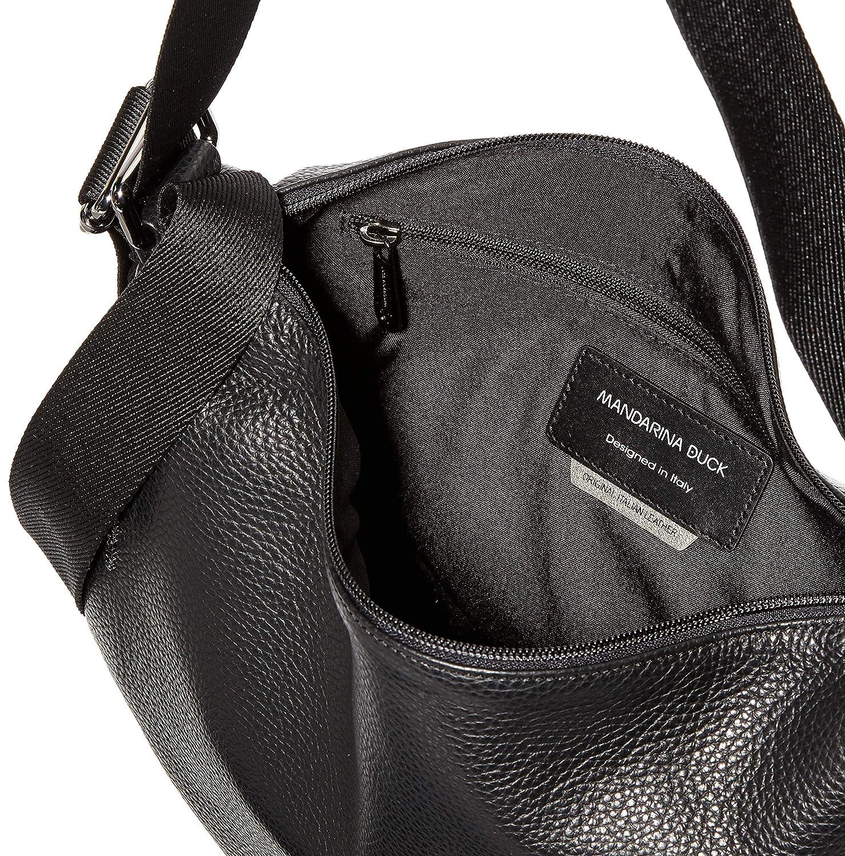 Mandarina anka dam herr läder tracolla/nero axelväska, 0,01 x 0,01 x 0,01 centimeter Silver (Argento/silver)
