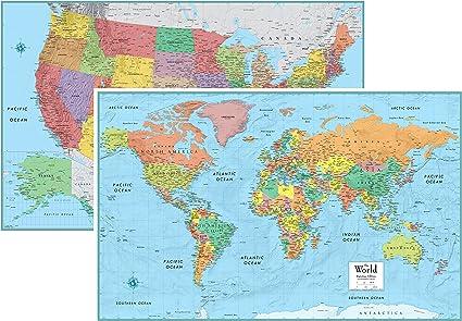 Rand Mcnally Signature Estados Unidos Estados Unidos y mapa mural del Mundo – Juego de laminado: Amazon.es: Oficina y papelería
