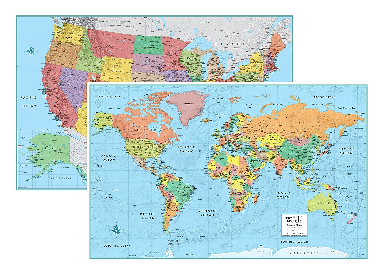 Map Of States Of The Usa.Amazon Com Rmc Signature United States Usa And World Wall Map Set