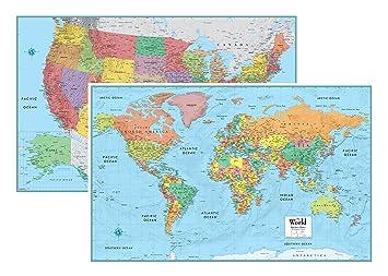 Amazon.com : RMC Signature United States USA and World Wall Map Set ...
