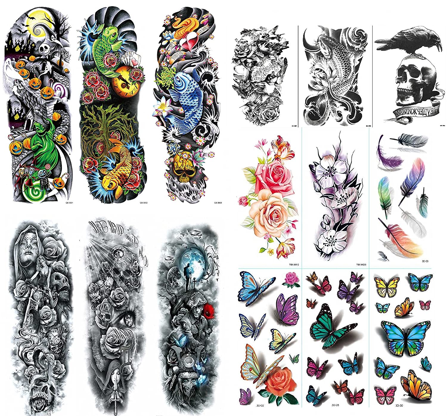 NutritionBizz Extra Large Full Arm Temporary Tattoos with 3D Tattoos for Men Women Teen Fake Tattoo 15 Sheets Butterfly Feather Flower Waterproof Stickers for Arms Shoulders Chest Back