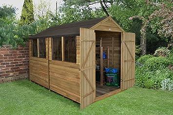 Apex 10 x 8 doble puerta de madera solapada tratada a presión: Amazon.es: Jardín