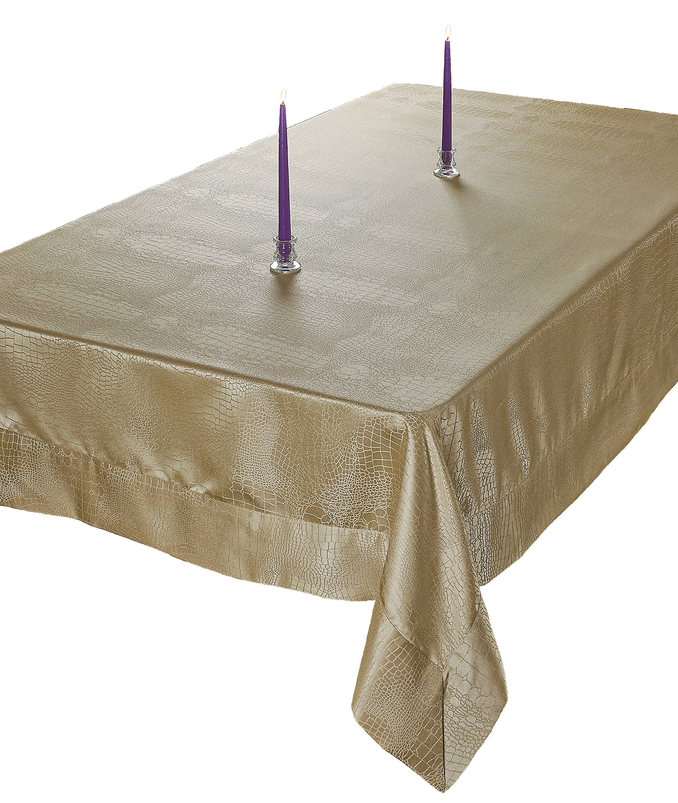 "Violet Linen Luxurious Damask Crocodile Design Tablecloths, 80"" X 80"" Square - in Gold - Live in style ! - the Crocodile tablecloths has the perfect combination of Size, detailing, and color, allowing you to choose the best tablecloth for every occasion Durable construction - they are manufactured from super hard wearing 100Percent polyester material, with a seamless construction that won't easily fray after long term use Add a fresh touch - update your home with this attractive Crocodile damask design tablecloth, that will brighten up your home, and will surely add a beautiful touch to your table decor - tablecloths, kitchen-dining-room-table-linens, kitchen-dining-room - A1jeGhkIJ3L -"
