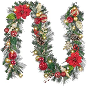 Valery Madelyn Pre-Lit 9 Feet Luxury Red Gold Christmas Garland Decorations with Lights, Ball Ornaments Flowers, Battery Operated 20 LED Warm Lights for Outdoor Front Door Mantel Fireplace Tree Party