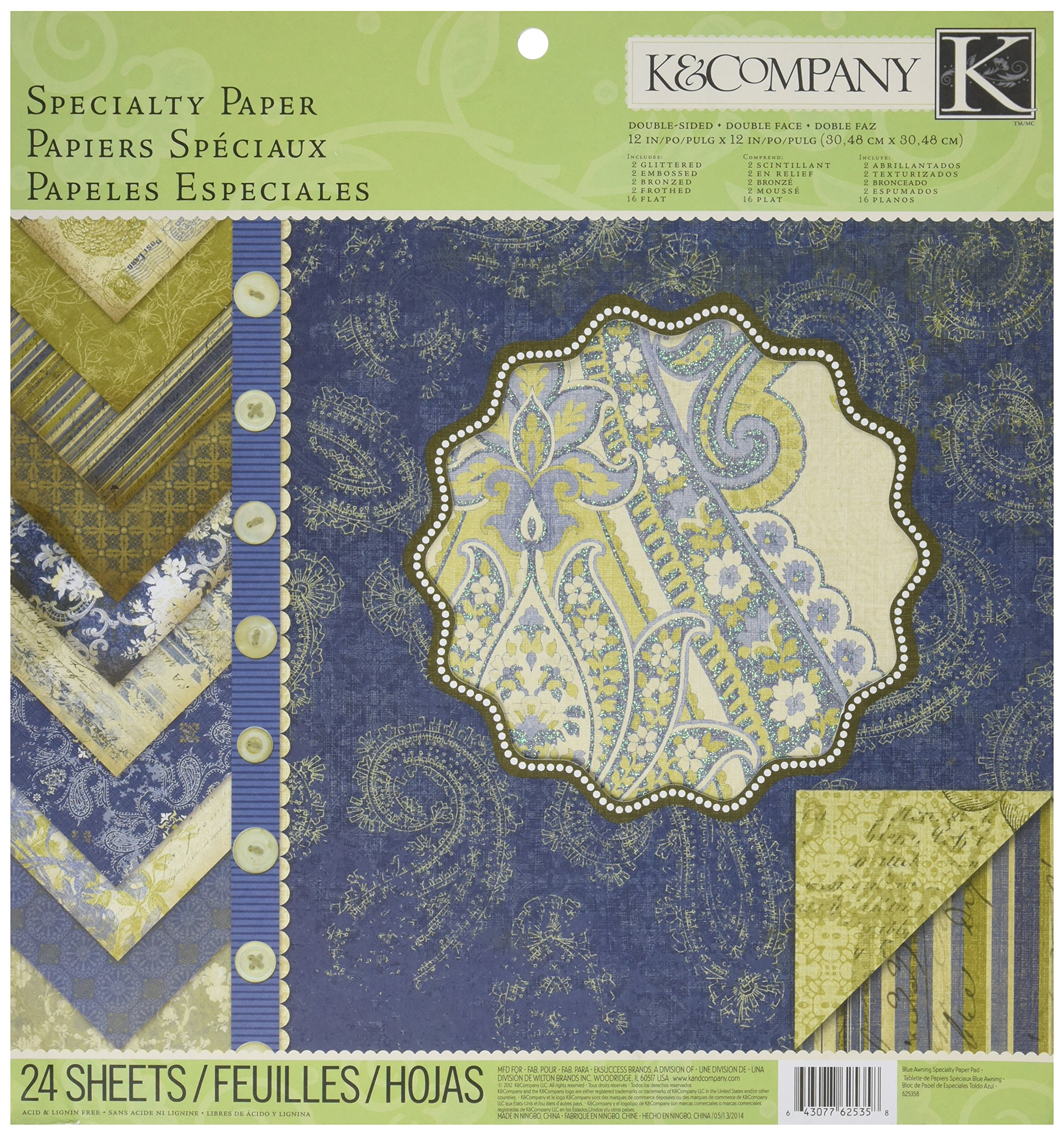 K&Company Blue Awning Specialty 12-by-12-Inch Paper Pad by K&Company