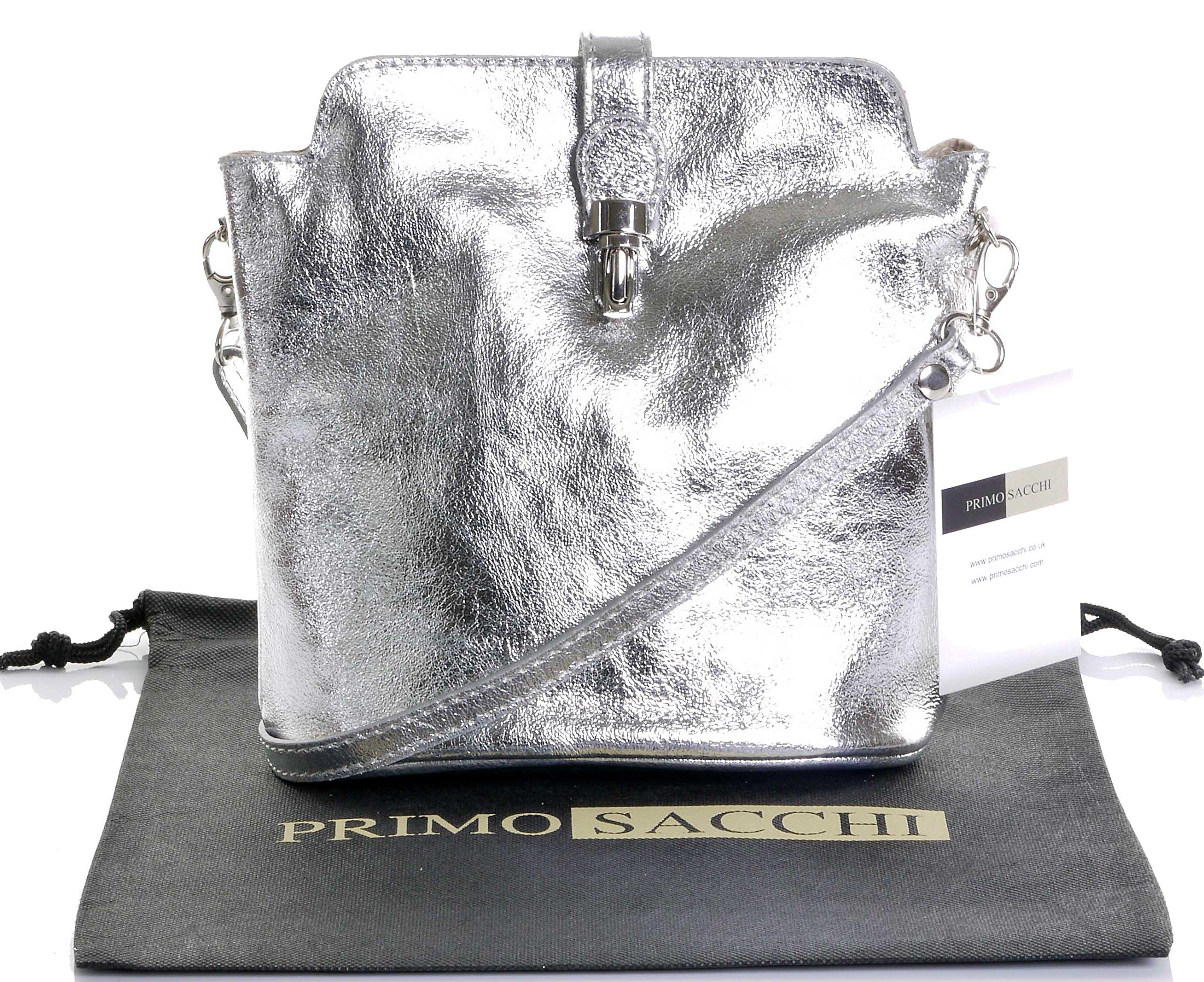 Primo Sacchi Italian Soft Leather Hand Made Small Silver Cross Body or Shoulder Bag Handbag