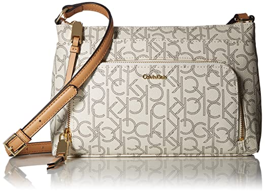 e005b0f0a Calvin Klein Hudson Top Zip Signature Crossbody, Almd/Khk/Camel ...