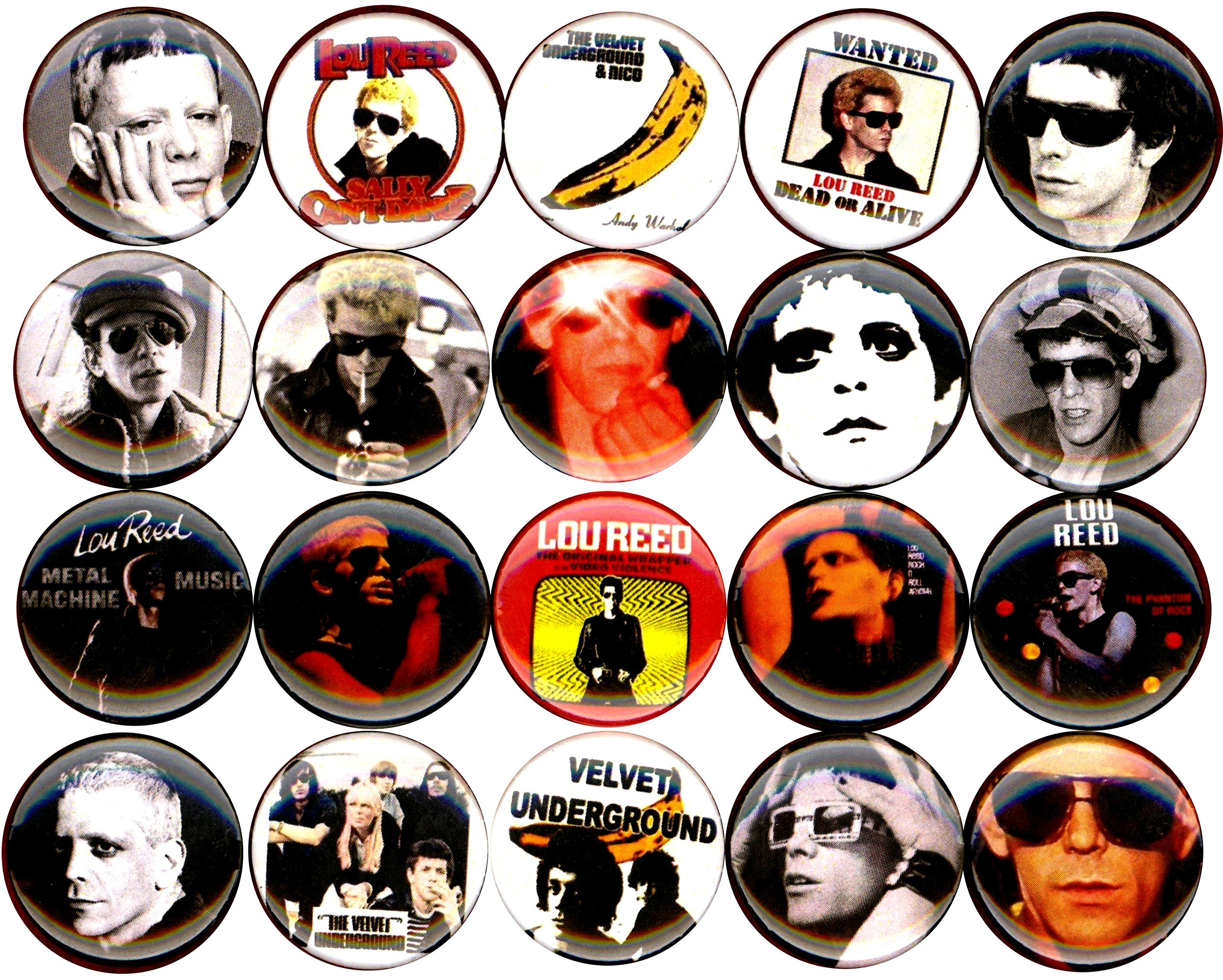 Lou Reed set of 20 NEW 1 inch pins buttons badges velvet underground RIP