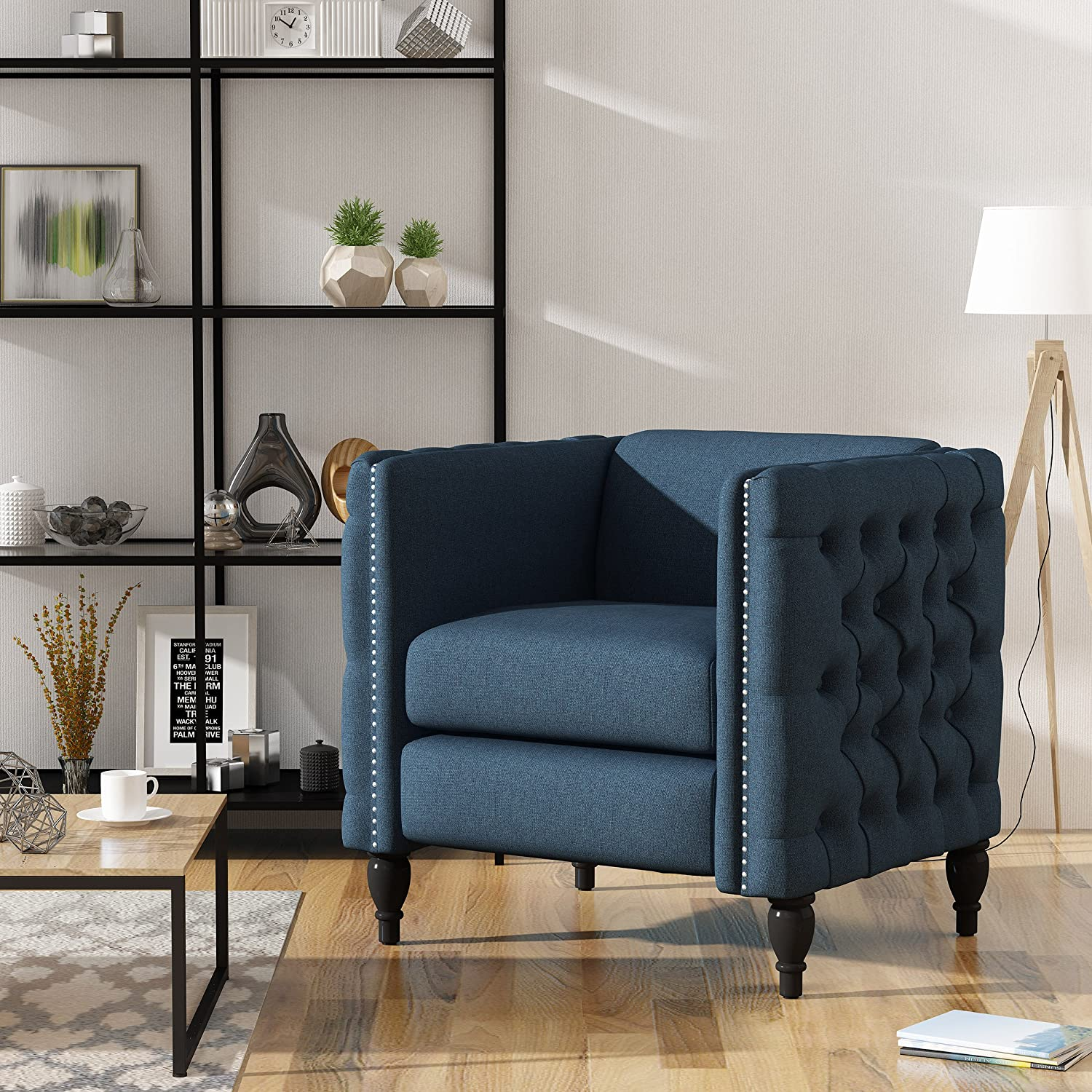 Christopher Knight Home 303944 Alice Modern Tufted Navy Blue Fabric Arm Chair