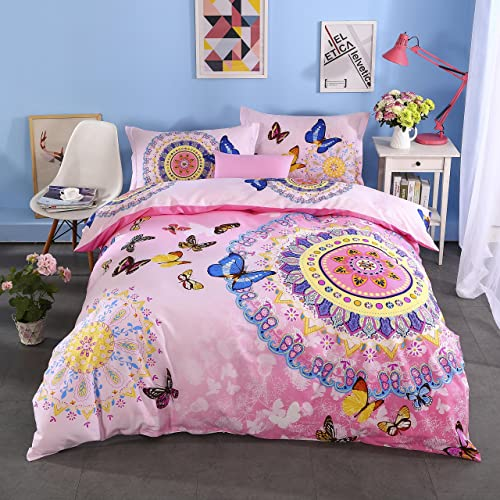 Cliab Butterfly Bedding For Girls Twin Pink Moroccan Bohemian Style Sheets  100% Cotton Duvet Cover