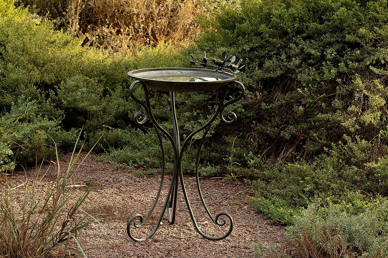 Alpine ORS684 Metal Birdbath w Birds and Leaves, 24 Inch Tall