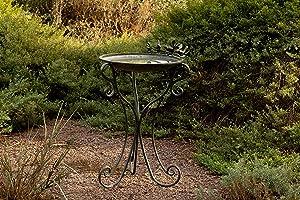 Alpine Corporation Vintage Metal Birdbath with Twigs and Bird Figurines - Iron Outdoor Decor for Garden, Patio, Deck, Porch