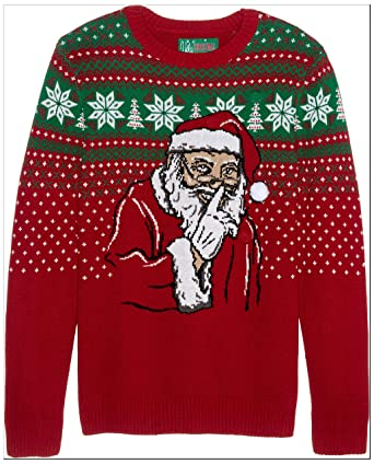 Ugly Christmas Sweater Homme Santas Secret Led Light Up Sweat Shirt
