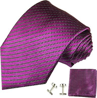 Paul Malone corbata de seda de la raya fucsia con el pañuelo y ...