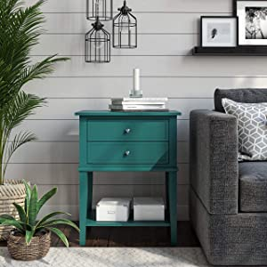 Ameriwood Home Franklin Accent 2 Drawers, Emerald Table, Green