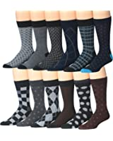 James Fiallo Mens 12 Pack Patterned Dress Socks
